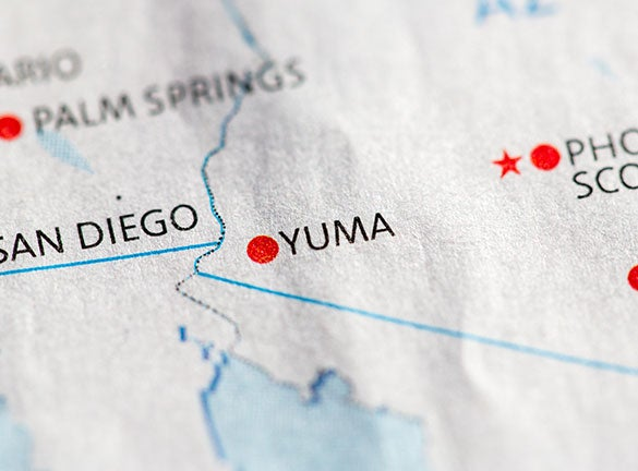 Zoomed in map of Yuma