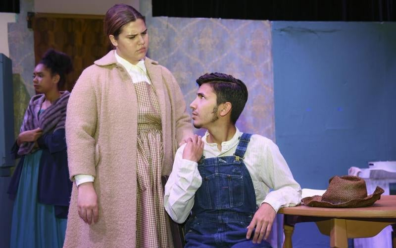 Mikayla Van Gorder and Christian Negrete rehearse a scene from an upcoming Arizona Western College production of Trifles: One-Act Play by Susan Glaspell.  Performances begin October 18, at 7:30pm in the AWC Theater. Photo by Craig Fry/Arizona Western College Campus Photographer.